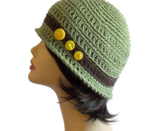 Woman's Cloche Hat Green and Brown with Yellow Vintage Buttons