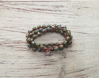 Triple wrap bracelet, necklace, or anklet / Beach jewelry/waterproof/versatile/Emerald Sea