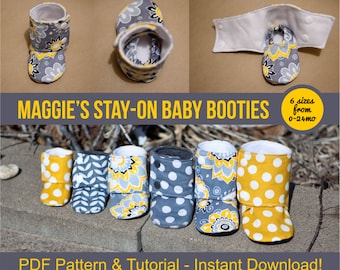 Maggie's Stay-On Baby Booties Sewing Tutorial Printable PDF Baby Sewing Patterns Instant Download DIY Baby Gift Downloadable Boot Baby Shoes