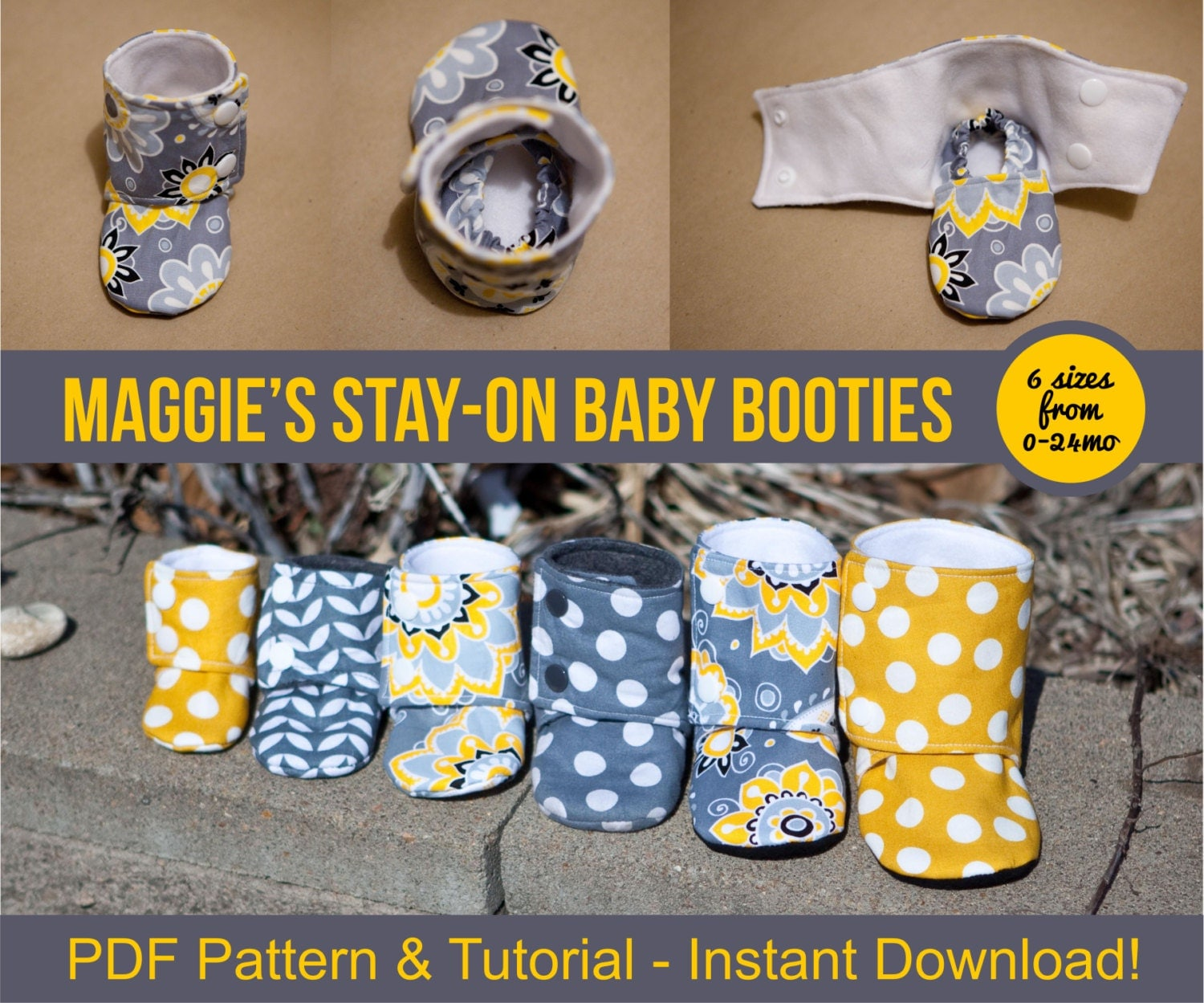Maggie's Stay-On Baby Booties Sewing Tutorial Printable