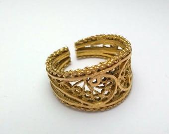 14K gold ring adjustable band  watermark type processing