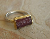 Hand Made Sterling Silver Ring With A Tourmaline  Stone Center
