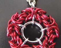 Red Pendant, Anodised Aluminum Byzantine Chainmaille Necklace, Round Ruby Maille Pendant, Mother's Day Gift, Boho Necklace, Gift for Her