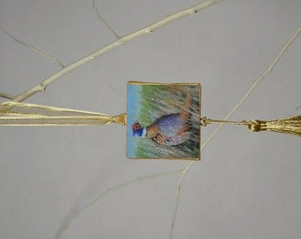 Ring-necked Pheasant Ornament or Magnet / Bird Ornament or Magnet / Pheasant Mini Canvas Ornament or Magnet