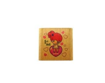 Korean girl love stamp - cute girl stamp - heart stamp