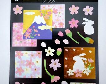 Japanese paper sakura cherry blossom rabbit and mount fuji paper stickers - gorgeous chiyogami stickers - yuzen paper stickers