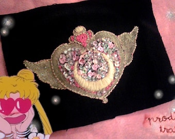 Made To Order Sailor Moon Crisis Moon Pink Sequin Glitter Gold Holographic Hand Embroidered Patch ONE OF A KIND