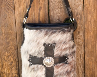 Exotic Hair on Hide Cross Handbag with Antiqued Concho and Nickel Spots