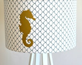 SAMPLE SALE: Gold Metallic Seahorse Decal on Navy Scallop Printed Drum Shade
