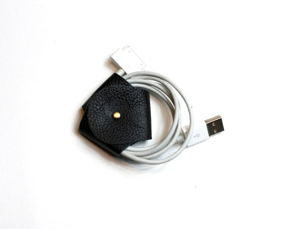 Black Soft Leather Cord Organizer / Cable Holder / Earphone Holder