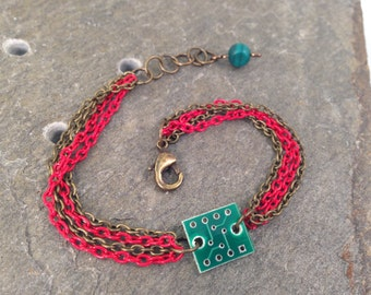 Red & Antique Brass Stackable Multi Chain Bracelet with Tiny Reclaimed Upcycled Circuit Board Charm, Adjustable from 7 to 8 inches