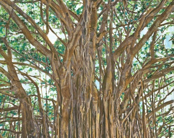 Giclee Print of Banyan Tree Painting; Signed & Numbered