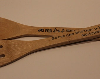 Custom Stamped Bamboo Wooden Spoons - set of 2