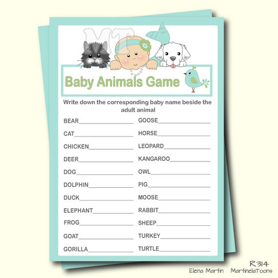 Baby Shower Game Name The Baby Animal: Cute Mermaid Baby Animal Game Guess Animal Girl Baby Shower