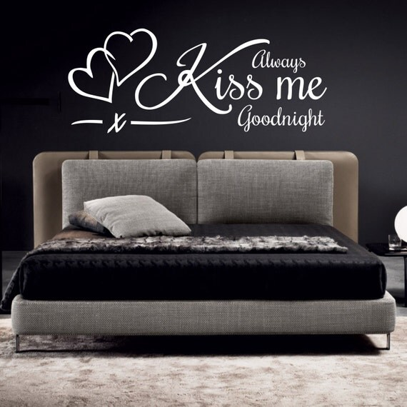 Always Kiss Me Goodnight Wall Art always kiss me goodnight wall art sticker quote decal