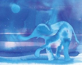 "Blue Elephant Watercolor art print 5x7"""