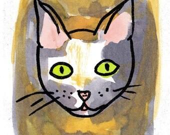 "Art Print, Cat, 5x7"""