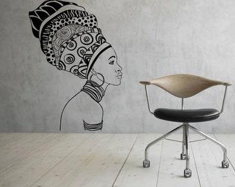 African Girl Wall Decal Africa Vinyl Decal Sticker Murals Interior Decor (2afg9)