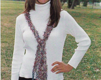 Flirt Scarf Knitting Patterns - Knitted Scarf Patterns - Hand Knit Scarf Pattern - Plymouth Yarn Design Studio La Collection Francaise Scarf