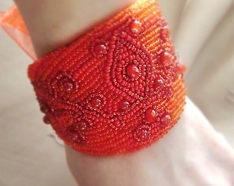 Embroidered Cuff Bracelet Red wide bracelet . Red jewelry . Bracelet handmade beaded. Work from beads .