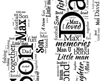 Personalised Word Art - Father & Son Design -  A4 Print or Digital File