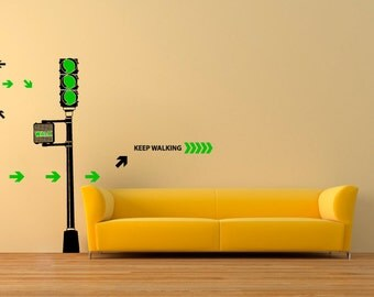 Wall decal Traffic Light, Traffic light wall sticker, Motivation wall sticker, Vinyl wall sticker, Wall stencil, Wall decor