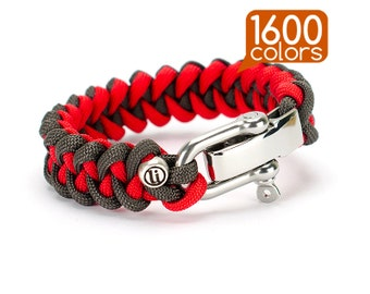 Parachute Bracelet  - Parachute cord bracelet «SHARK» with real stainless steel buckle. Create your survival bracelet from the 1600 colors!