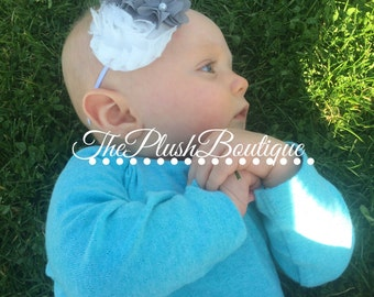 White And Grey Flower Thin Headband