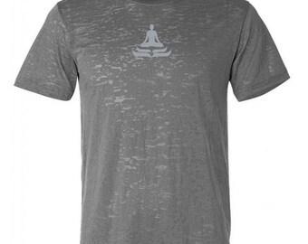 Yoga Clothing For You Mens Lotus Pose Burnout Tee Shirt = NL6110-LOTUS