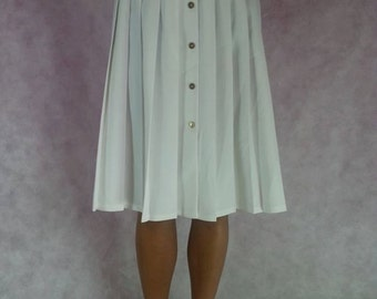 Vintage 1980s 1990s White Pleated High Waisted Summer Skirt