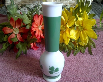 Lefton China Vase. Hand Painted Shamrock Bud Vase. 1980's