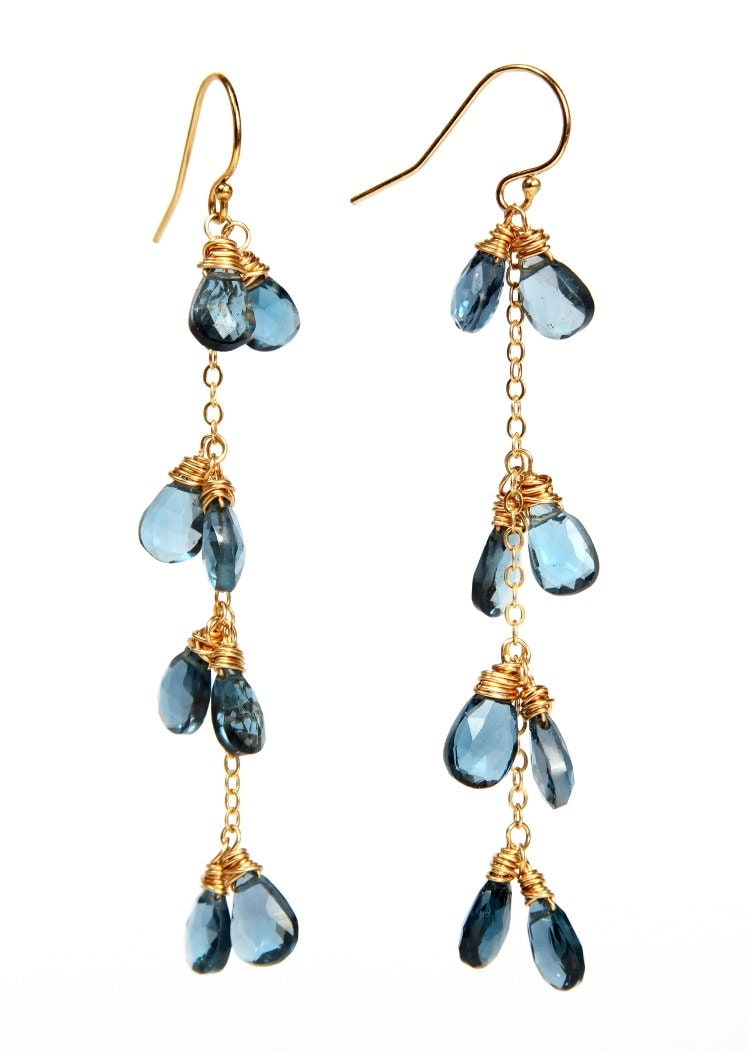 blue topaz cluster drop earrings