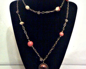Orange and Tan chain necklace with Pendant.