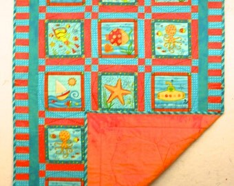 Orange and Turquoise  Undersea Quilt