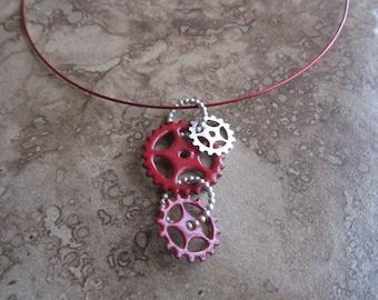 enamel gear necklace