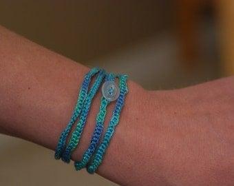 Variegated Blue/Green Crocheted Bracelet