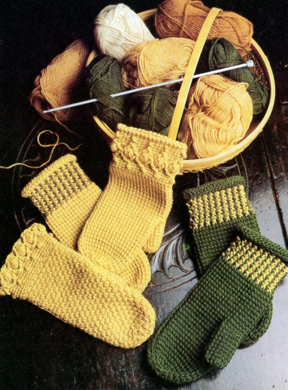 Vintage Tunisian Crochet Adult Mittens - Three Patterns!