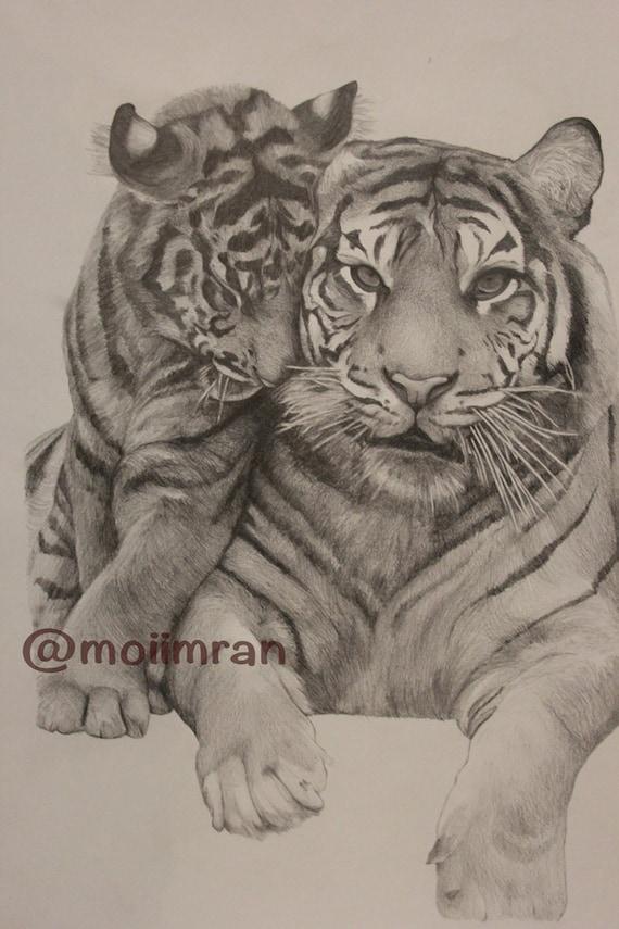 Articoli simili a fatto a mano disegno ritratto animale for Disegni delle tigri