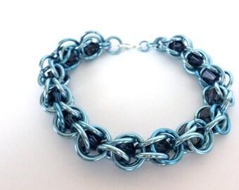 Crystal Chain Bracelet, Sky Blue Chain & Montana Blue Swarovski Cyrstal