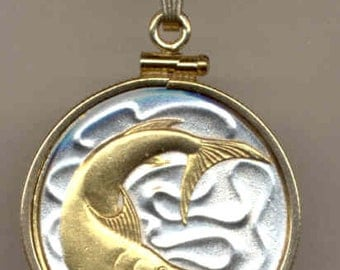 Necklace - Gorgeous 2-Toned Gold on Silver Singapore Swordfish,  Coin - Necklaces