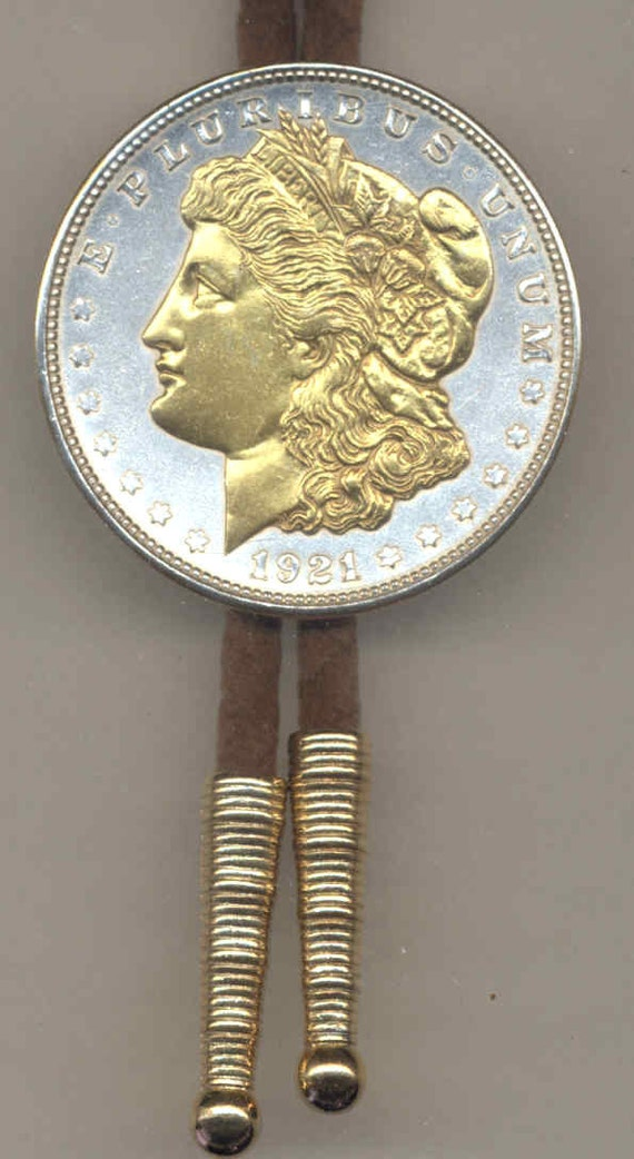 Bolo Tie U S Morgan Silver Dollar 2 Toned Gold On Silver