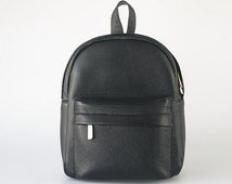 Black Leather Backpack, a Simple Pebble Leather Knapsack