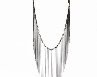 Silver or Bronze Fringe Chain Necklace with Black Leather Strap
