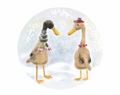 Two Ducks Art Print,Wearing Hat and Scarf,Winter Scenery,Art for Children
