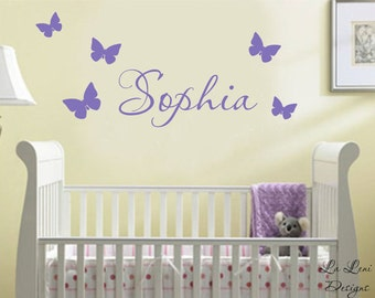 Name Wall Decals - Girls Name Decals- Butterfly Decals- Nursery Decals-Children's Name Decals Name Wall Decals