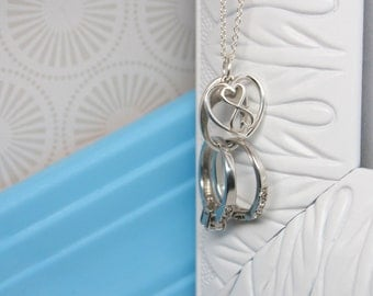 Ring Holder Necklace with Infinity Double Heart Charm,  Infinity Heart Ring Saver Necklace, Sterling Silver Ring Holding Necklace