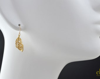 Matte Gold Feather Earrings - Delicate gold filled earwire,Dainty gold feather,Simple jewelry for everyday