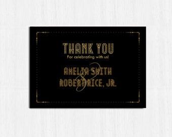 1920s Thank you card, Elegant Thank you, Great Gatsby wedding, Black and gold Wedding, wedding thank you card, 1920s wedding thank you card