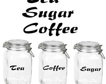 Tea, Coffee, Sugar Container Decals **JARS NOT INCLUDED