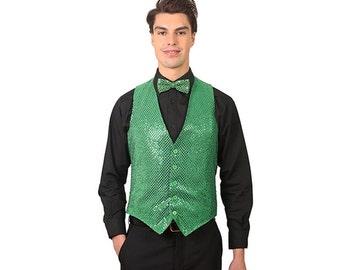 Men's emerald green sequins vest